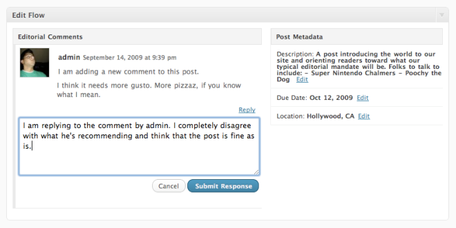 The Edit Flow metabox enables editorial comments and provides some additional metadata fields to track details related to each post.
