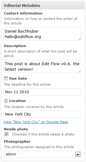 Editorial Metadata in each post