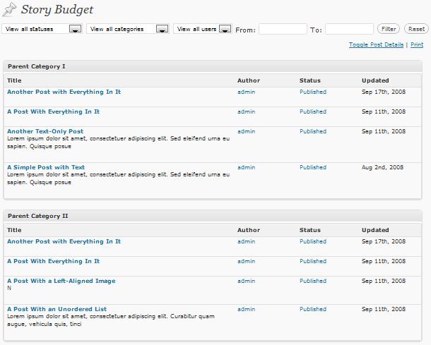 Story Budget